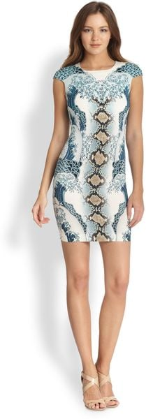 Just Cavalli Capsleeve Mixedprint Dress - Lyst