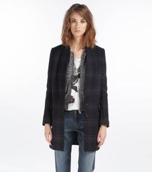 Maje Dilution Plaid Coat - Lyst
