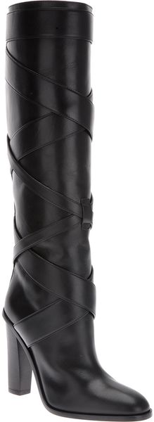 Saint Laurent Strap Detail Knee High Boot - Lyst