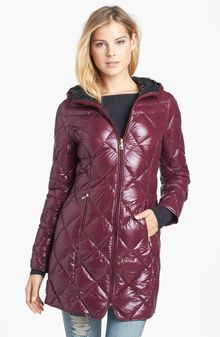 Steve Madden Hooded Packable Down Feather Walking Coat - Lyst