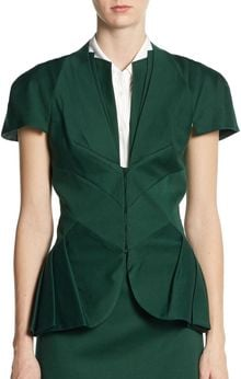 Zac Posen Pleated Peplum Jacket - Lyst