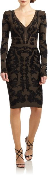 Zac Posen Bonded Floral Jacquard Long Sleeve Dress - Lyst