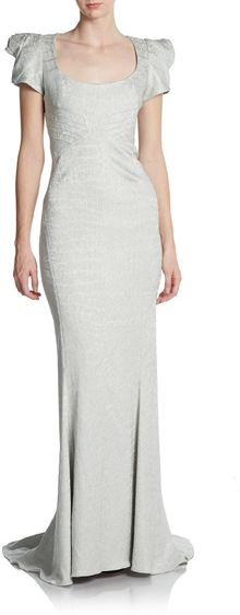 Zac Posen Structured shoulder Sheath Gown - Lyst