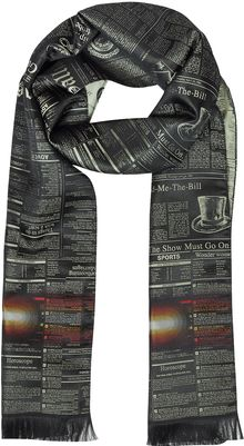 John Galliano Newspaper Printed Silk Long Scarf - Lyst