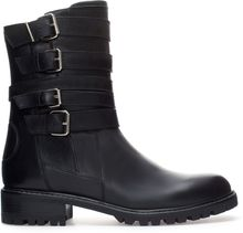 Zara Leather Biker Ankle Boot - Lyst