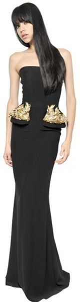 Alexander McQueen Embroidered Viscose Leaf Crepe Dress - Lyst