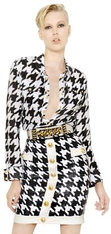 Balmain Cotton Muslin Houndstooth Shirt - Lyst