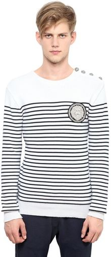 Balmain Striped Cotton Sweater - Lyst