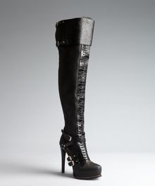 Dior Black Croc Embossed Leather Lace Up Thigh Hig Boots - Lyst
