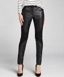 Rebecca Minkoff Black Leather Stretch Combo Pants - Lyst