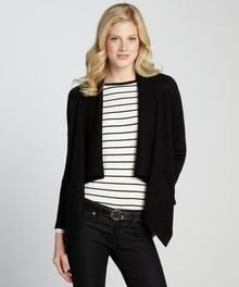 Tahari Black Wool Blend Shawl Collar Open Front Cardigan - Lyst