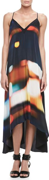 Twelfth Street by Cynthia Vincent Printed Highlow Silk Dress - Lyst