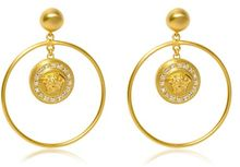 Versace Gold Swarovski Earrings - Lyst