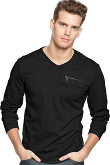 Calvin Klein Vneck Zip Pocket Shirt - Lyst
