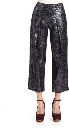Derek Lam Sequin Pleated Cropped Trousers - Lyst