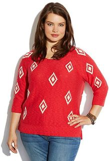 Lucky Brand Diamond Intarsia Sweater - Lyst