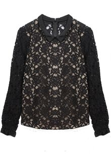 Sea Lace Long Sleeve Blouse in Black - Lyst