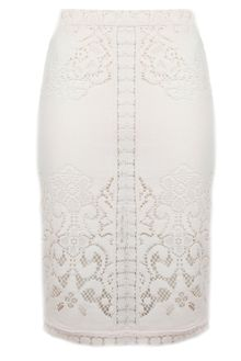 Sea Eyelet Pencil Skirt in Cream - Lyst