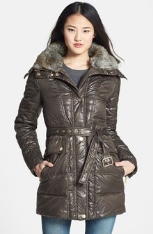 Vince Camuto Faux Fur Collar Down Feather Jacket - Lyst
