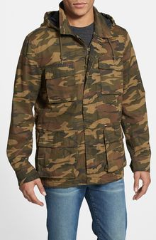 Obey Fields Hooded Camo Jacket - Lyst