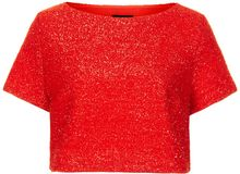 Topshop Textured Metallic Crop Tee - Lyst