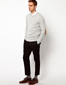 Asos Crew Neck Jumper with Elbow Patches - Lyst