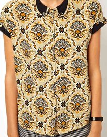 Asos Blouse with Contrast Curved Collar in Fall Paisley Print - Lyst