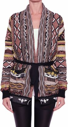 Laneus Jacquard Cotton Cardigan with Belt - Lyst