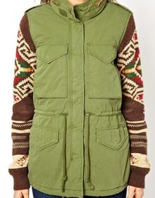 Ralph Lauren Parka with Patterned Sleeves - Lyst