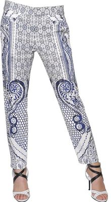 Roberto Cavalli Printed Cotton Trousers - Lyst