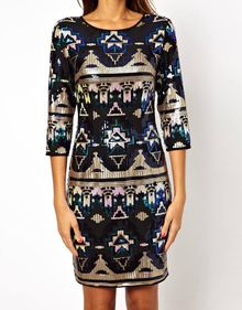 Tfnc Bodycon Mini Dress Geotribal Sequin - Lyst