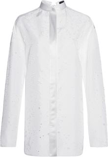 Alexander Wang Distressed Long Sleeve Top with Back Keyhole Tie - Lyst