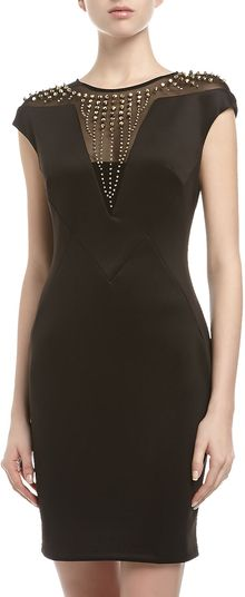 Alexia Admor Studded mesh yoke Ponte Cocktail Dress Black - Lyst