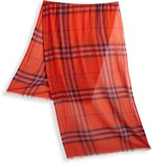 Burberry Check Silk Wool Scarf - Lyst