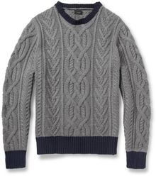 J.Crew Cableknit Crew Neck Cotton Sweater - Lyst
