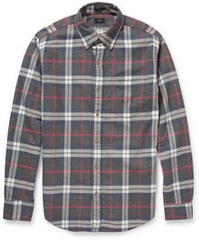 J.Crew Plaid Buttondown Collar Brushedcotton Shirt - Lyst
