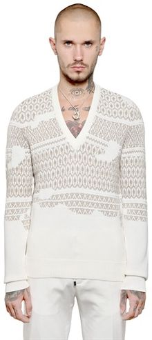 Maison Martin Margiela Cotton Jacquard V Neck Sweater - Lyst