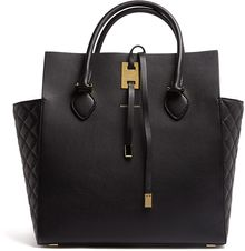 Michael Kors Black Miranda Structured Quilted Side Panel Tote - Lyst