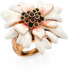 Oscar de la Renta Crystaladorned Floral Statement Ring - Lyst