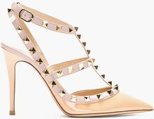 Valentino Beige and Taupe Leather Studded Rockstud Slingbacks - Lyst