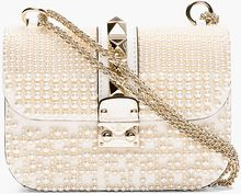 Valentino Ivory Pearl and Pyramid Studded Shoulder Bag - Lyst