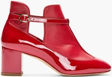 Valentino  Leather Patent and Matte Paneled Boots - Lyst
