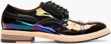 Acne Black Iridescent Patent Oil Slick Derbys - Lyst