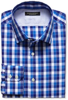 Banana Republic Slim Fit Non Iron Blue Multi Gingham Shirt Harbor Blue - Lyst