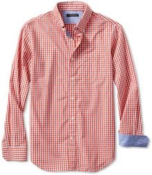 Banana Republic Slim Fit Soft Wash Gingham Button Down Shirt Warm Orange - Lyst