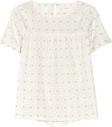 Band Of Outsiders Split Back Embroidered Cotton Top - Lyst