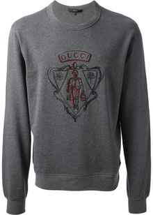 Gucci Embroidered Logo Crest Sweatshirt - Lyst
