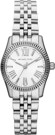 Michael Kors Petite Silver Color Stainless Steel Lexington Threehand Watch - Lyst