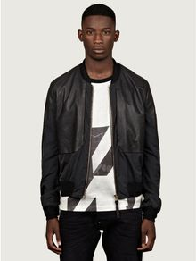 Paul Smith Mens Black Leather Panelled Bomber Jacket - Lyst