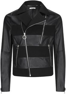 Paul Smith Mesh Stripe Leather Jacket - Lyst